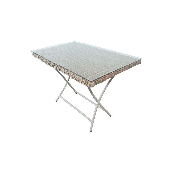 table de jardin pliante rectangulaire en kubu borneo gris clair city green la redoute. Black Bedroom Furniture Sets. Home Design Ideas