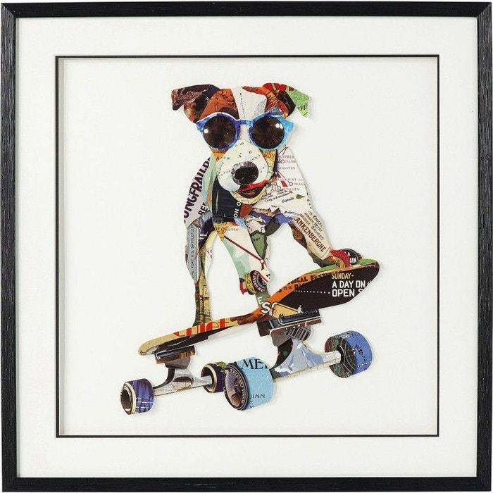 Tableau Frame Art Chien Skate Board 65x65cm Kare Design Multicolore
