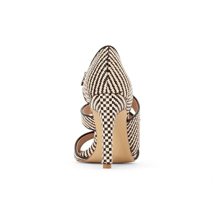 Sandales imprimées brides asymétriques imprimé noir La Redoute Collections