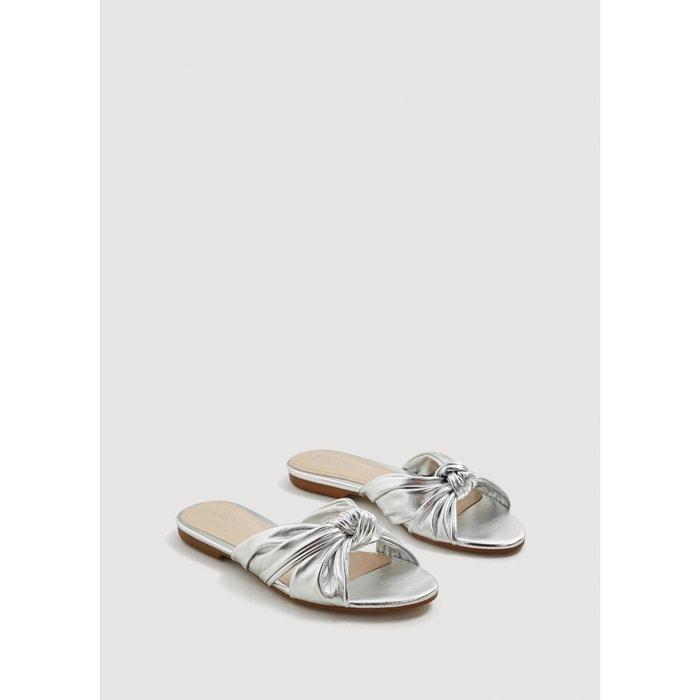Sandale métallisée à n?ud argent Mango