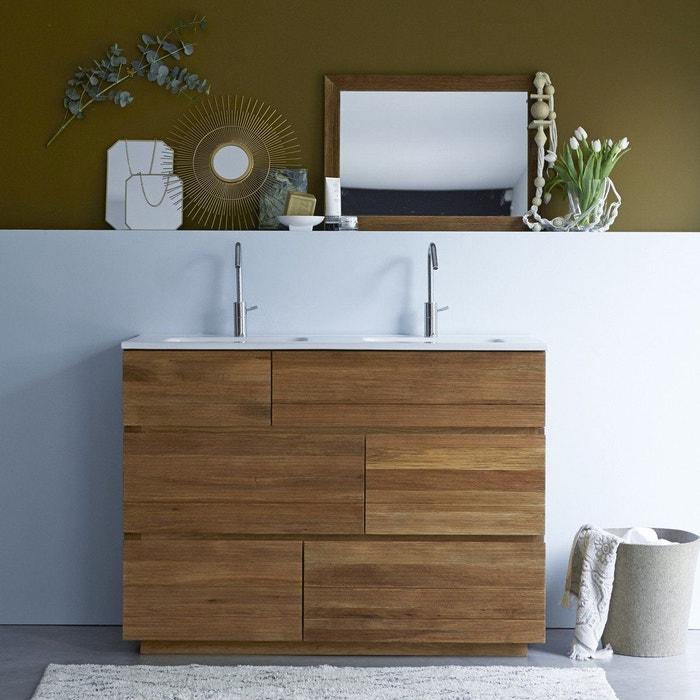 Meuble salle de bain en bois de chêne et céramique 120 karl chêne et ...