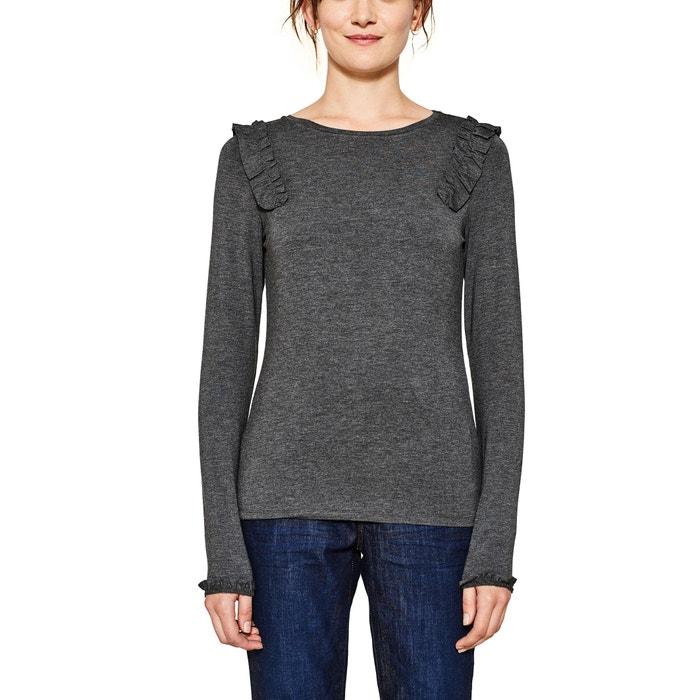 T-shirt con scollo rotondo tinta unita, maniche lunghe  ESPRIT image 0