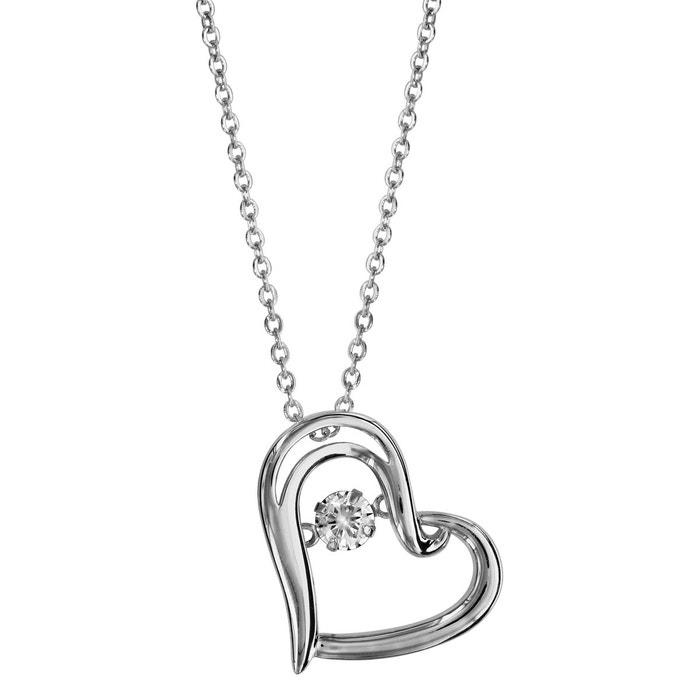 Collier longueur réglable: 41,5 à 44,5 cm pendentif coeur oxyde de zirconium blanc argent 925 couleur unique So Chic Bijoux   La Redoute
