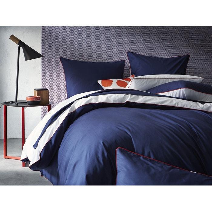 Housse de couette percale 80 fils cm bicolore bleu - Housse de couette bicolore la redoute ...
