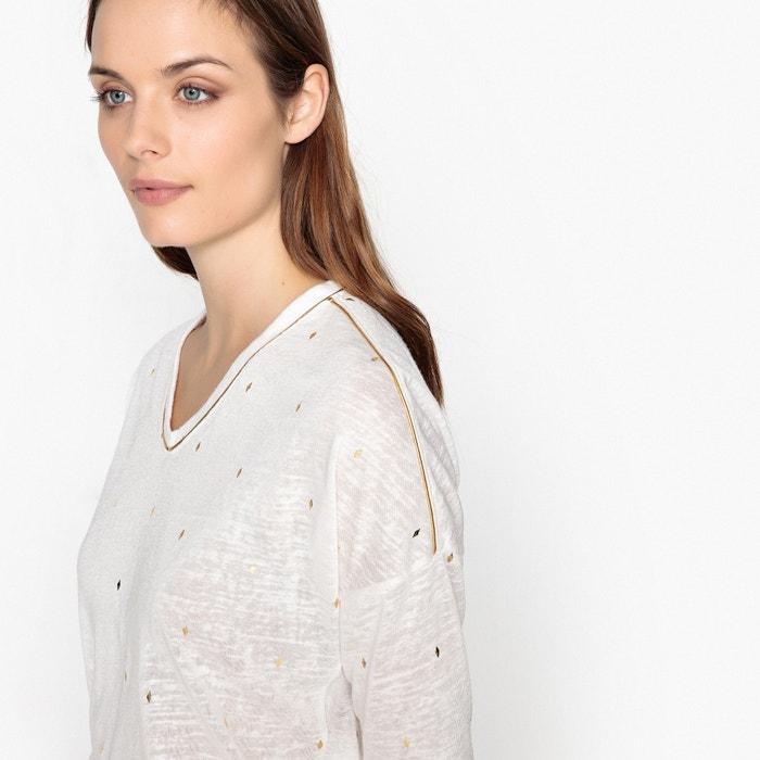 Camiseta y de cuello ONLY manga larga con pico lisa 7CFwZvq6