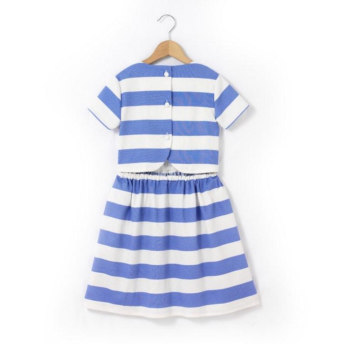 afbeelding Wijd uitlopende halflange jurk met strepen La Redoute Collections