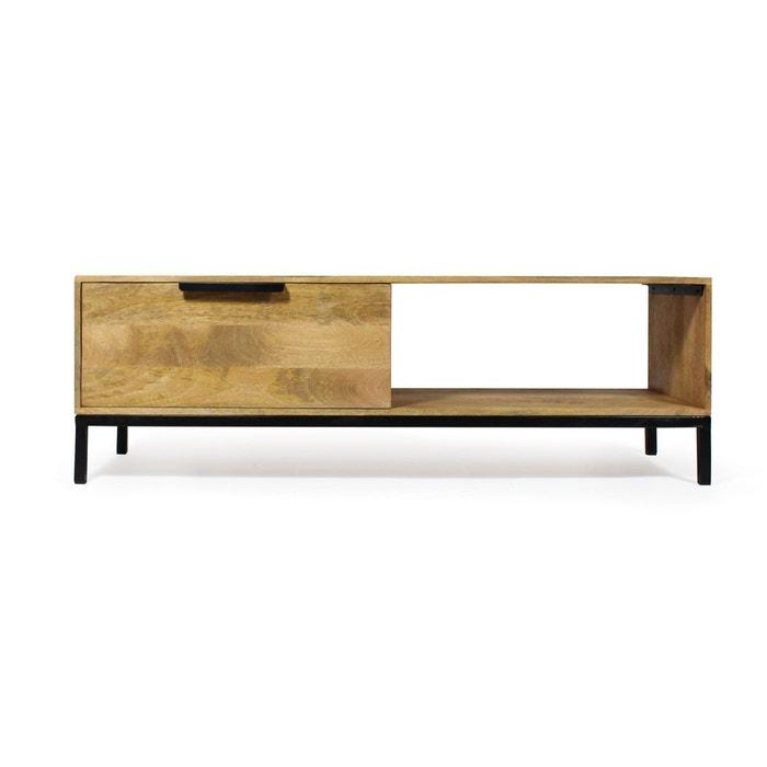 meuble tv 1 tiroir 1 niche en manguier pieds mtal vk36 made