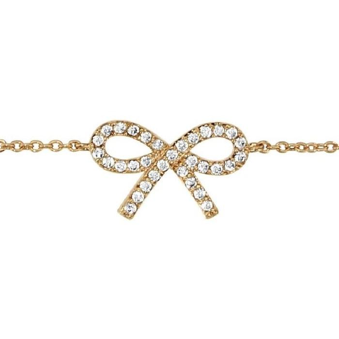 Bracelet femme longueur réglable: 16 à 18 cm chaîne noeud ruban strass blanc plaqué or 750 couleur unique So Chic Bijoux   La Redoute Acheter Recommande Pas Cher QqUdo3FLRV