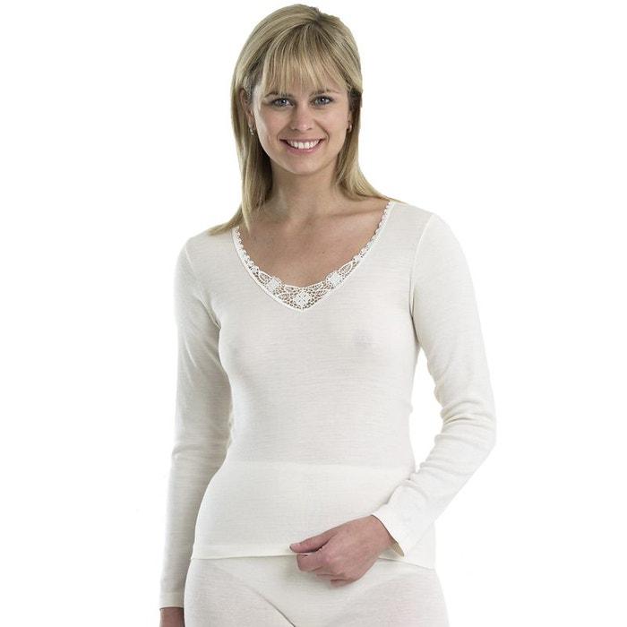 silk haut en modal manches longues blanc slenderella la redoute. Black Bedroom Furniture Sets. Home Design Ideas