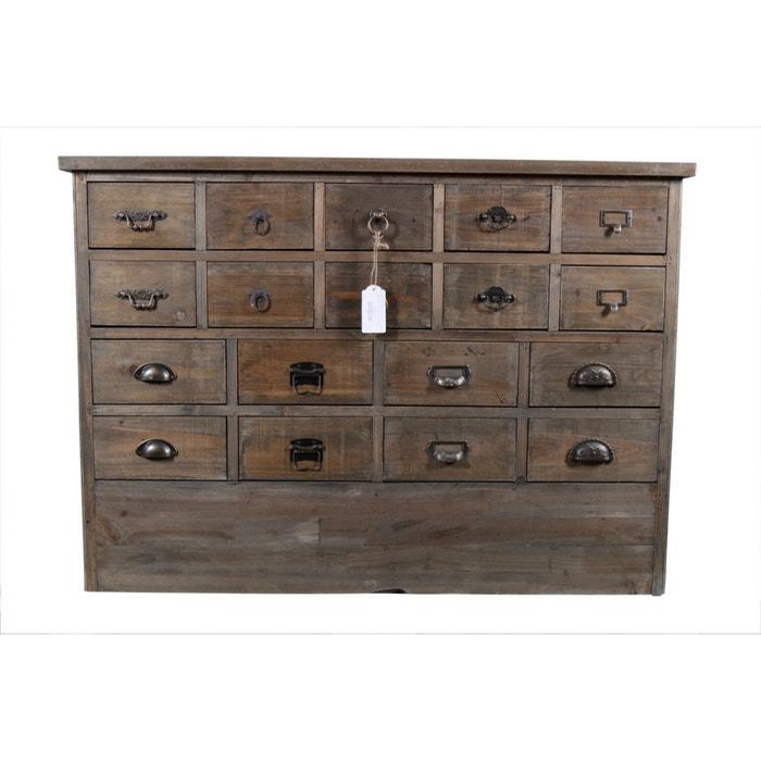 meuble semainier chiffonnier grainetier bois 18 tiroirs 120x35x85cm marron decoration d. Black Bedroom Furniture Sets. Home Design Ideas