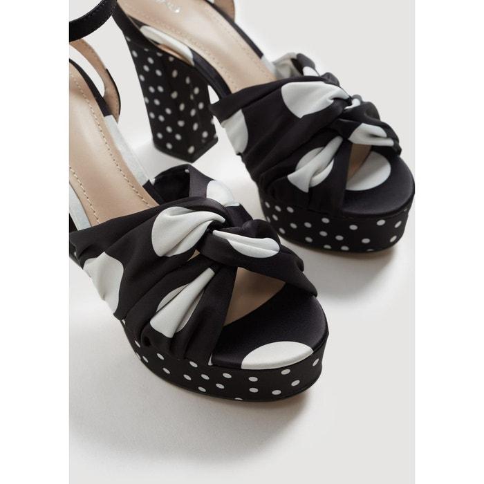 Sandales talons à pois noir Mango