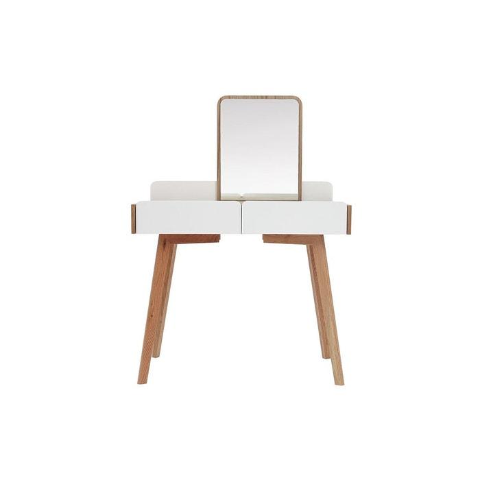Coiffeuse Moderne Avec Miroir Et Rangements Bois Et Blanc Taya Bois Clair /  Blanc Miliboo | La Redoute