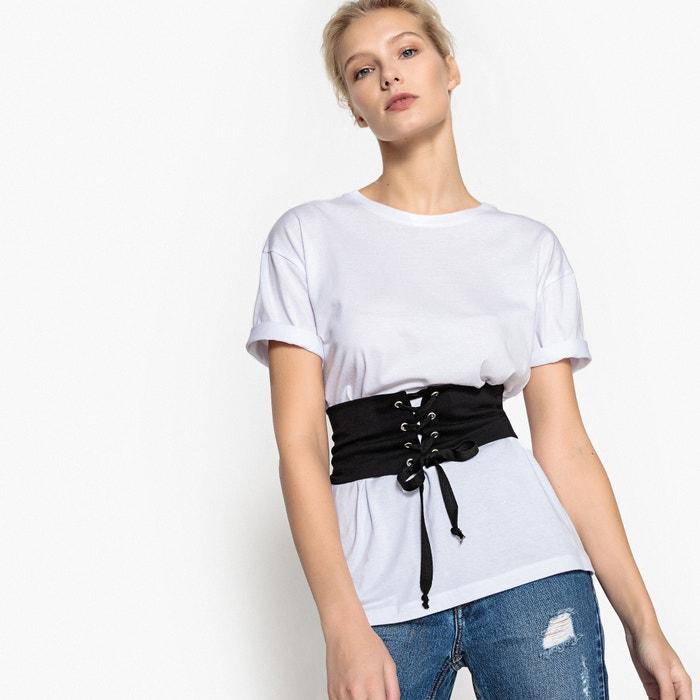 afbeelding T-shirt met korset La Redoute Collections