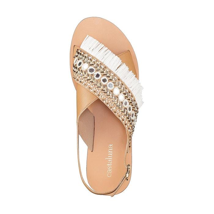 Sandales cuir détail perles pied large 38-45 Castaluna