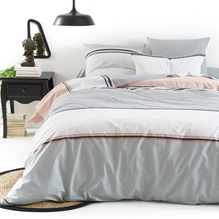 drap plat imprim en pur coton nayma gris rose poudr e la redoute interieurs la redoute. Black Bedroom Furniture Sets. Home Design Ideas