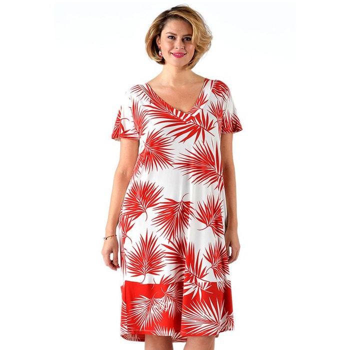 robe motif de palmier blanc rouge yoek la redoute. Black Bedroom Furniture Sets. Home Design Ideas