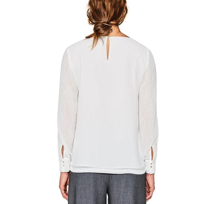 redondo larga y manga ESPRIT y Blusa lisa con recta cuello wn6aqz6Yx