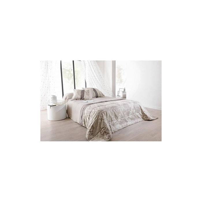jet de lit ouatin lampas gris argent avec taie s assortie s gris home maison la redoute. Black Bedroom Furniture Sets. Home Design Ideas