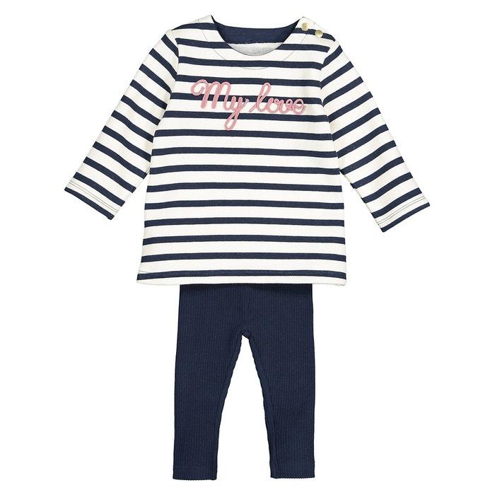 Filles 2 Pièce Denim Look Robe Tunique Top /& Leggings Set 6 mois à 4 ans