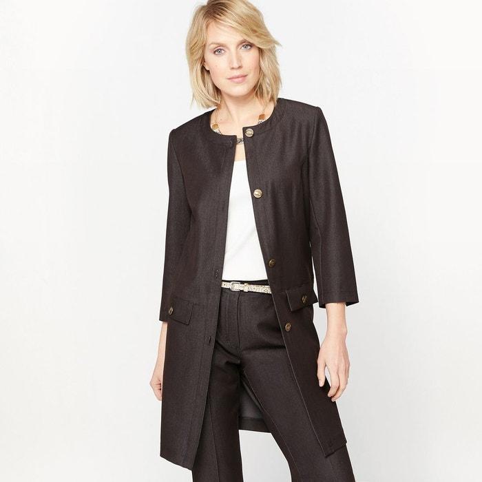 veste longue sans col serg stretch noir jean anne. Black Bedroom Furniture Sets. Home Design Ideas