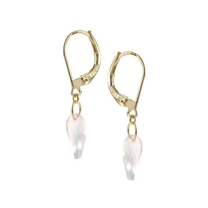 Boucles d'oreilles or jaune 18k avec quartz roses Sites De Vente En Ligne Recommander À Vendre Jeu Meilleur Endroit Qualité Supérieure Sortie 3CJeWZ