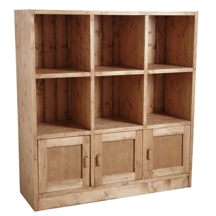 biblioth que 6 cases 3 portes en pic a cir miel naturel aubry gaspard la redoute. Black Bedroom Furniture Sets. Home Design Ideas