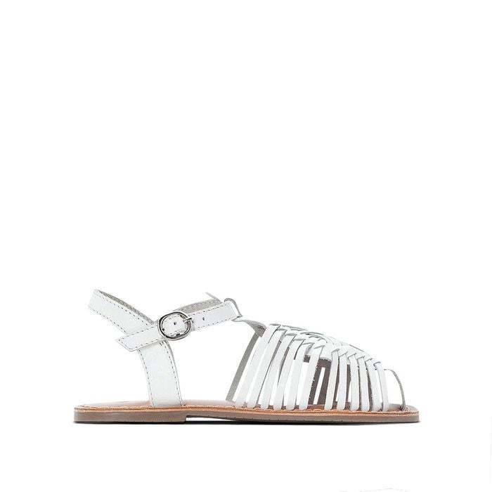 928e4240430f4c Sandales tressées cuir 26-39 blanc La Redoute Collections   La ...