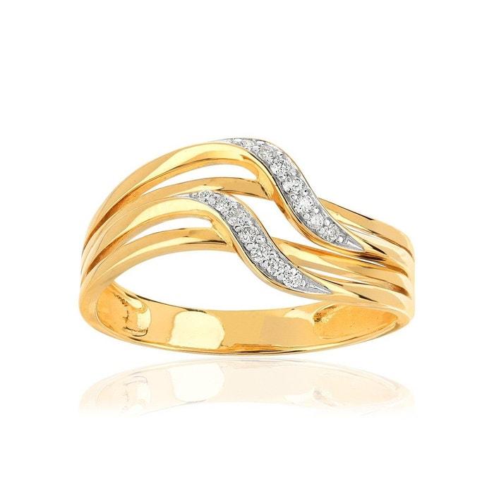 bague or 375 2 tons diamant