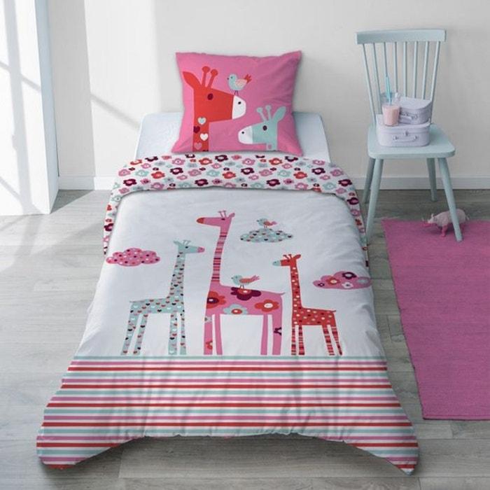 Parure Housse De Couette Fille Pur Coton Girafe Rose Et Rouge