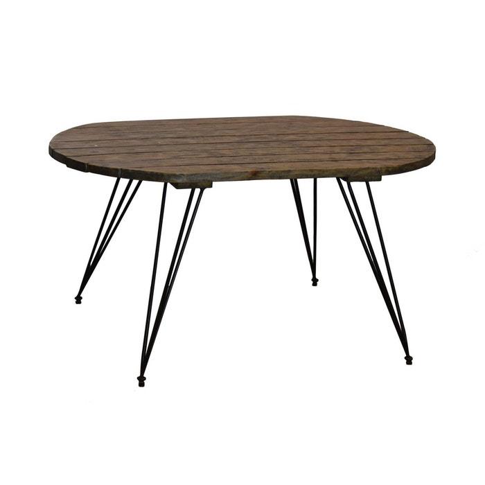 Table Basse Industrielle Vintage Plateau Bois Foncé Et Pieds Métal 91x52cm Canada