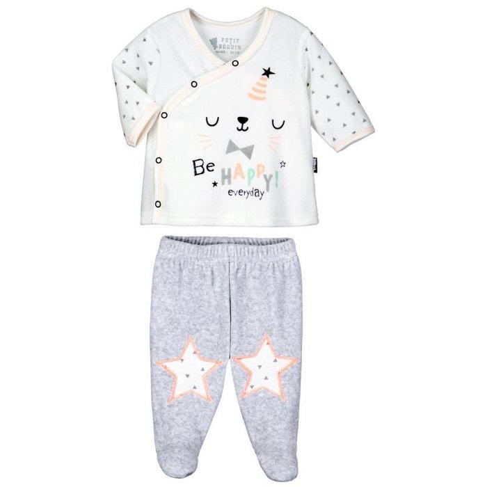98b69603f3bf2 Pyjama bébé 2 pièces velours avec pieds hello ecru Petit Beguin | La Redoute