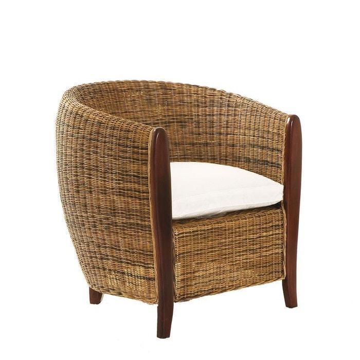 fauteuil cabriolet rotin avec coussin lola rotin et coussin cru pier import la redoute. Black Bedroom Furniture Sets. Home Design Ideas