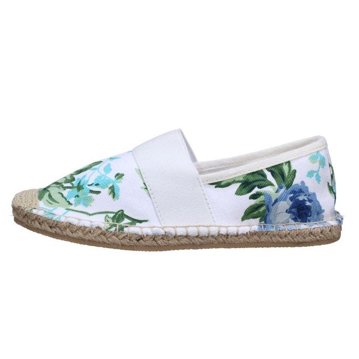 Espadrilles fleuries blanc Leader Mode