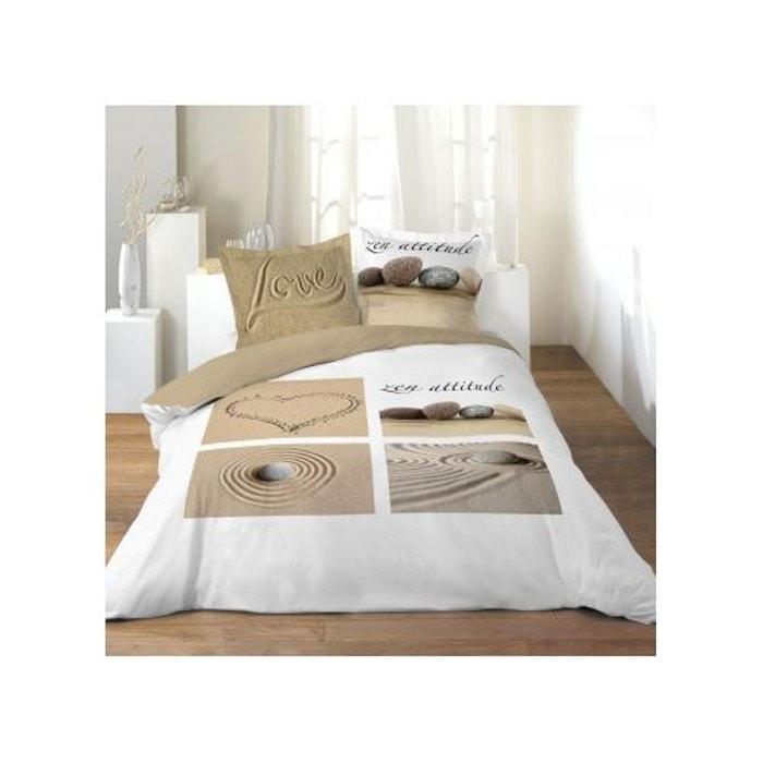 Parure de lit 2 personnes imprim love blanc naturel douceur d in - La redoute parure de lit ...