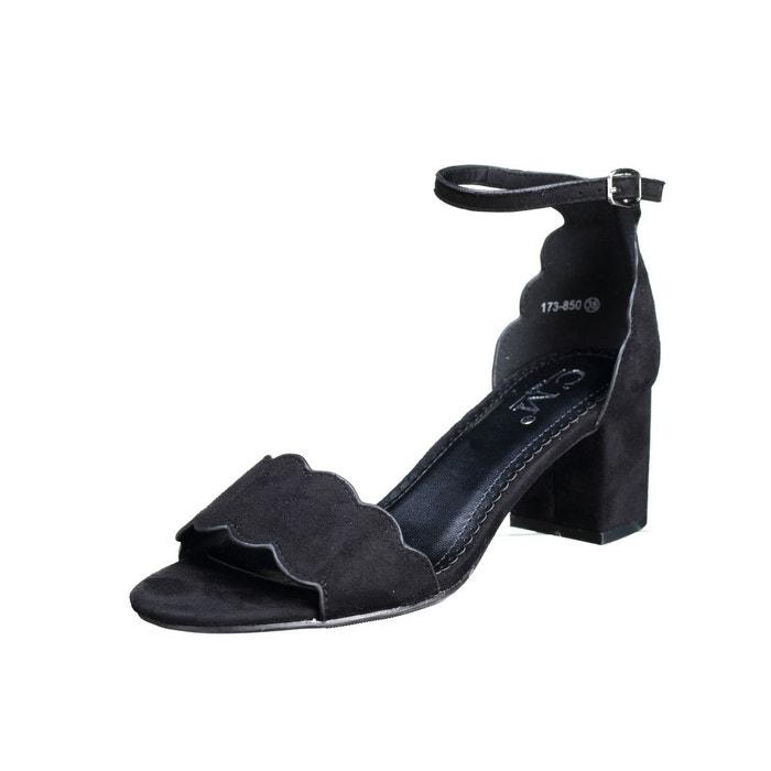 Sandales à talons à talons carrés noir Leader Mode