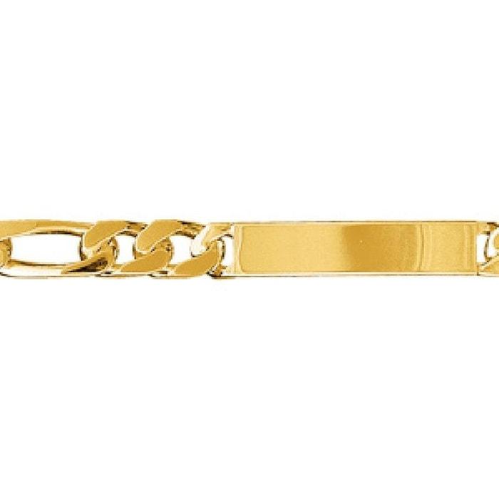 Bracelet 21 cm identité gourmette maille 1 + 3 largeur 8 mm plaqué or 750 couleur unique So Chic Bijoux | La Redoute boutique ZyYbFr