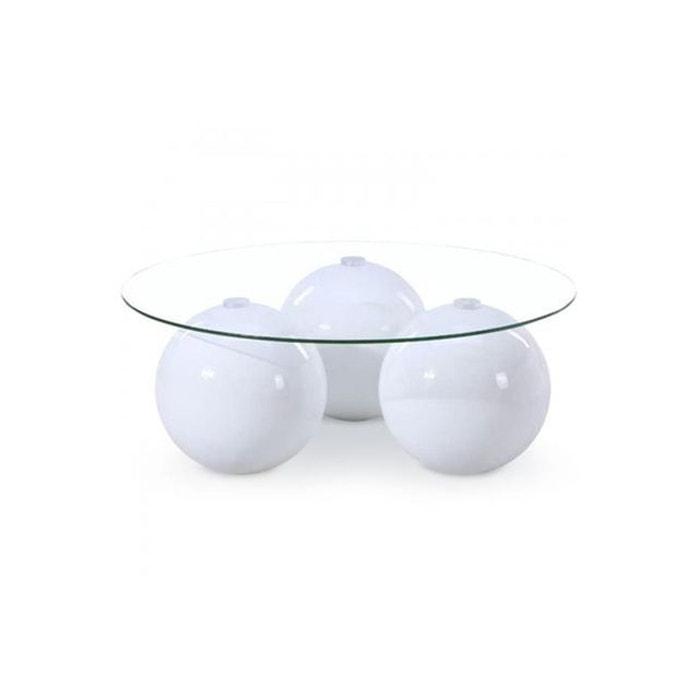 Table basse ronde en verre blanche veda blanc declikdeco la redoute - Table basse blanche en verre ...