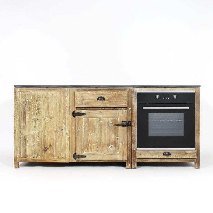 Lot de deux meubles de cuisine bois recycl poign es frigo jc1513 pierre na - La redoute meubles cuisine ...