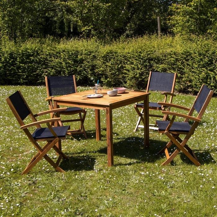 Salon de jardin carré en bois d\'acacia fsc noir 4 places acacia Bois ...