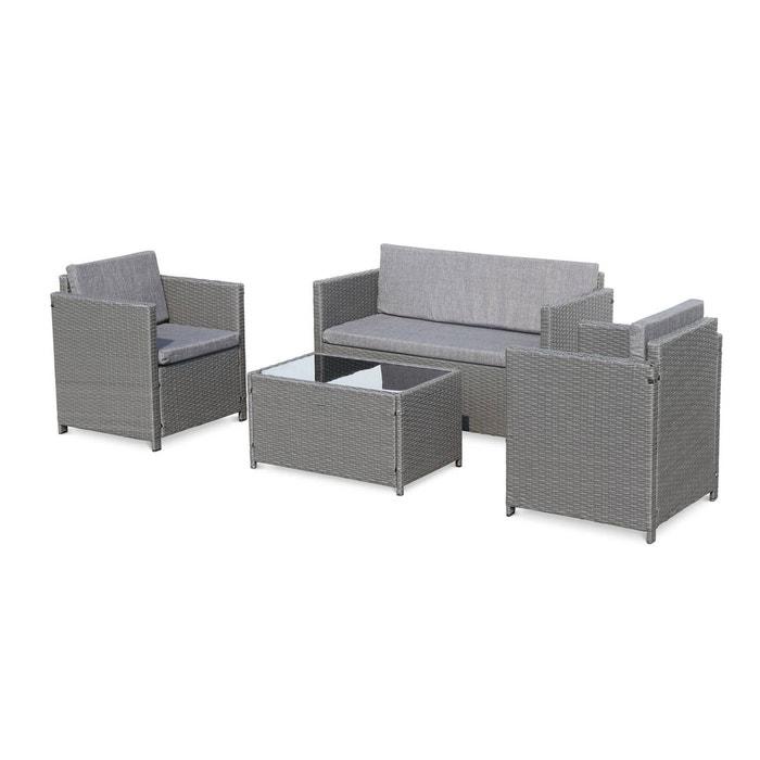 Salon de jardin en résine tressée - Perugia - noir, Coussins gris- 4 places  - 1 canapé, 2 fauteuils, une table basse