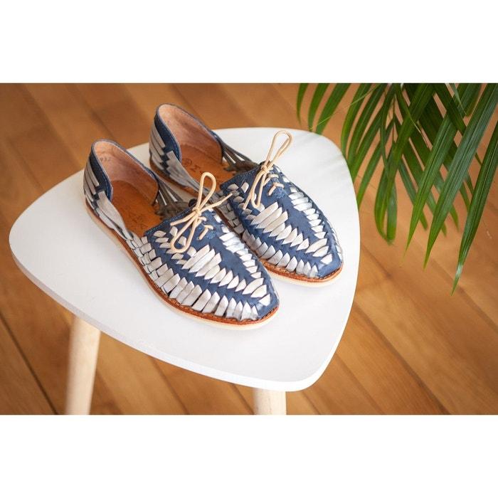 Chaussures plates dété à lacets en cuir tressé de couleur bleu marine Mapache