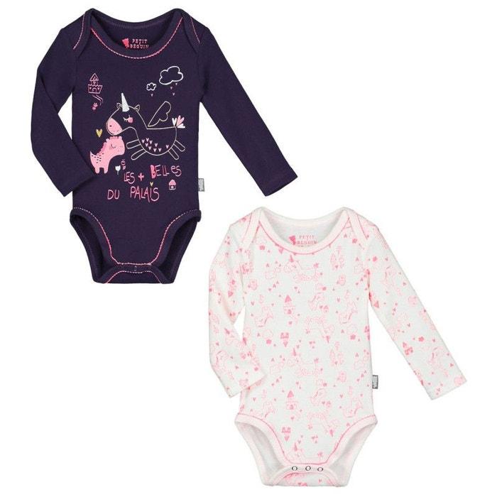 Lot de 2 bodies manches longues bébé fille lili violet Petit Beguin ... f281210b973