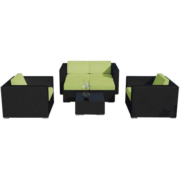 Salon de jardin 4 à 6 places en résine noire avec coussins Delorm ...