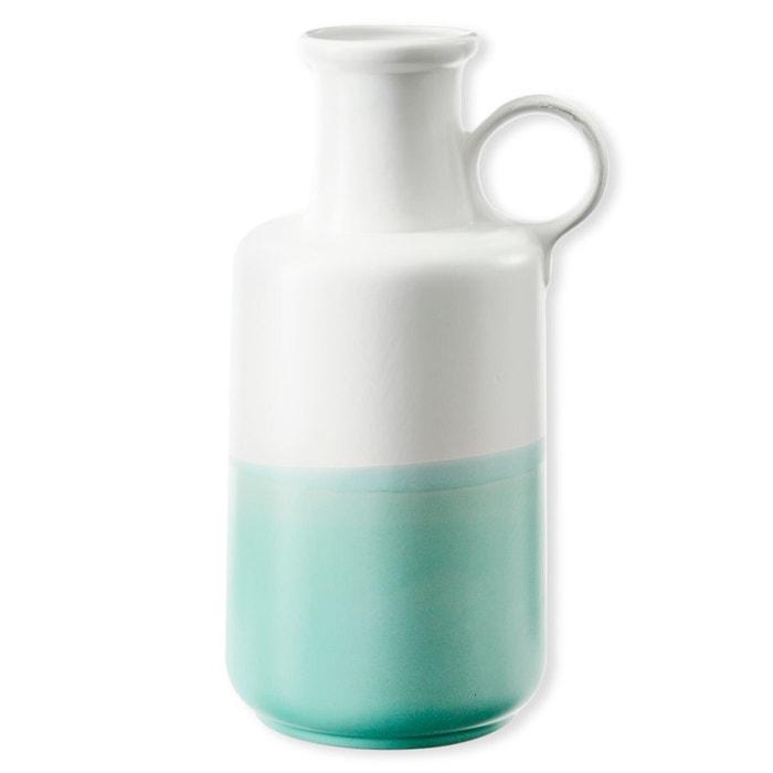 vase en c ramique blanc et bleu 34cm fedora bleu canard. Black Bedroom Furniture Sets. Home Design Ideas