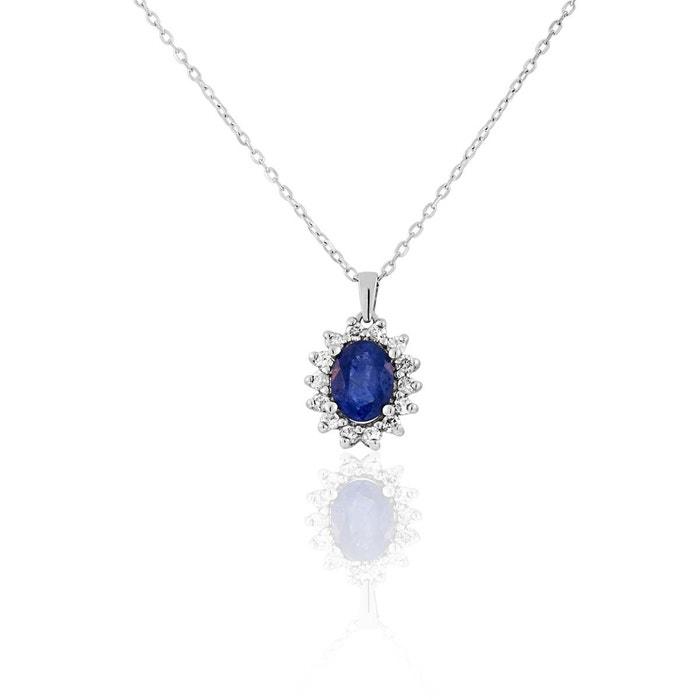 Collier en or 750/1000 blanc, saphir bleu et diamant bleu Cleor | La Redoute