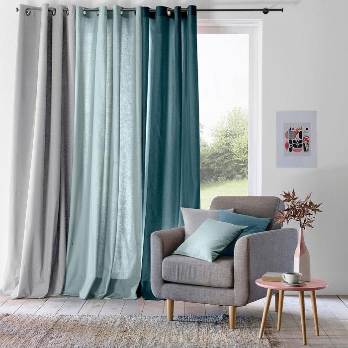 Rideau illets pur coton scenario la redoute interieurs la redoute for Petit rideau gris