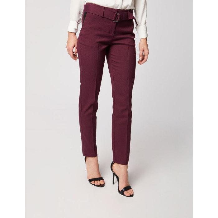 3518283a8921d Pantalon ajusté faux-uni avec ceinture bordeaux Morgan | La Redoute