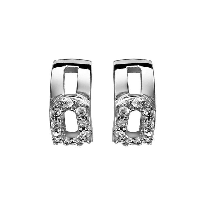 Boucles d'oreilles demi créoles oxyde de zirconium blanc argent 925 couleur unique So Chic Bijoux | La Redoute De Nombreux Types De QPEwbC5dG