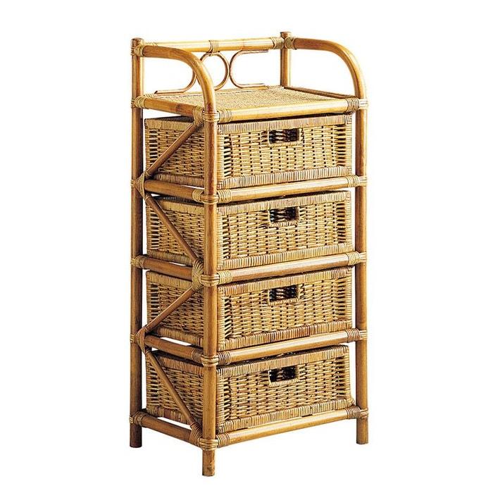 commode 4 tiroirs en rotin naturel aubry gaspard la redoute. Black Bedroom Furniture Sets. Home Design Ideas