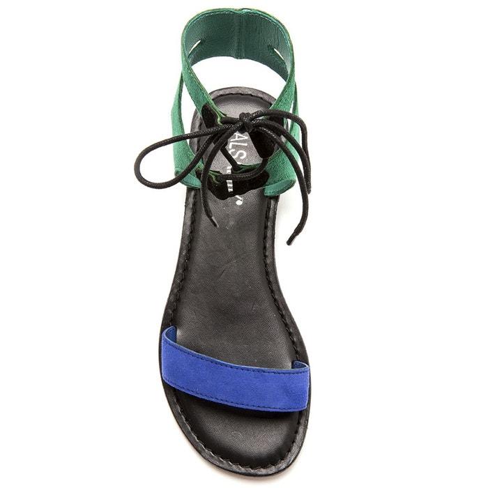 Sandales plates lacées, cuir velours ou lisse vert multicolore Balsamik